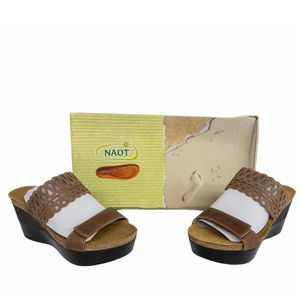 NAOT Latte Brown Rise Leather Platform Sandals 6.5